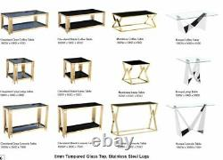 Lamp Table Side End Table Display Stand Black Square Glass Stainless Steel Gold