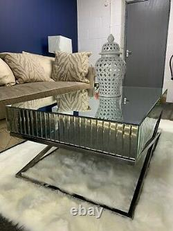Large Classic Stainless Steel Rectangle Mirrored Glass Coffee Lounge Table