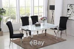 Louis 160 cm White Glass Steel Mirrored Chrome Dining Table Black Grey Chairs