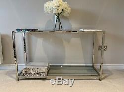 Luxury Glass & Chrome Modern Console Side hallway table RV ASTLEY EICHHOLTZ £450