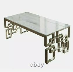 Luxury Marble Glass Staineless Steel Coffee Table