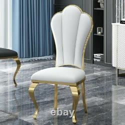 Luxury round marble dining table with gold stainless steel base