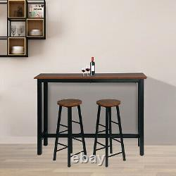 MDF Breakfast Bar Table Set with 2 Bar Stools and 1 Bar Table for Kitchen