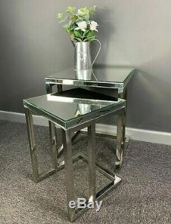 Meridian Silver Sparkly Stainless Steel 2 Mirrored Nest Of Tables End Table