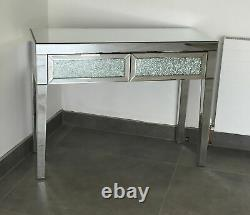 Mirrored Crushed Crackle Glass Dressing Table Console Table Bedroom Living Room