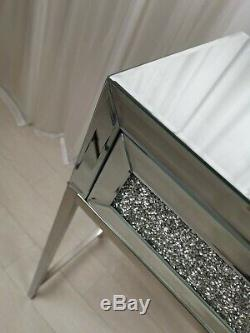 Mirrored Dressing Table DIAMOND EFFECT Vanity Entrance Bedroom Make-Up Console