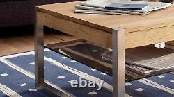ModaNuvo Modern Solid Oak Coffee Table Glass Shelf Stainless Steel Metal Legs