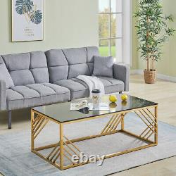 Modern Coffee Table Stainless Steel Side Table with Tempered Glass Living Room