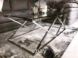 Modern Coffee Table Transparent Tempered Glass and Stainless Steel Living Room