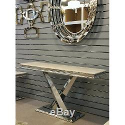 Modern Cream & Grey Marble Top Coffee Table Desk Home Living Room Furniture Set
