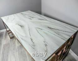 Modern Marble Glass/Rose Gold Stainless Steel Rectangular Geometric Dining Table