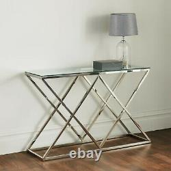 Modern Silver Stainless Steel Metal Clear Glass Top Console Side Hall Table