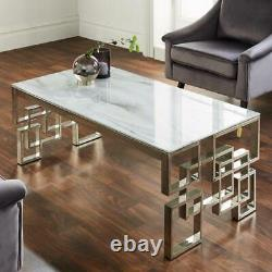 Modern Silver Stainless Steel Metal & White Marble Glass Top Coffee Table