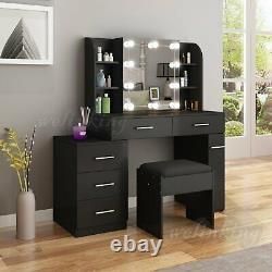 Multifunctional Dressing Table Makeup Desk with Drawers Mirror Stool Organiser Set
