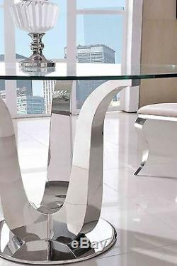 Naples Stylish Modern Table Glass & Stainless Steel Frame Dining Room Furniture