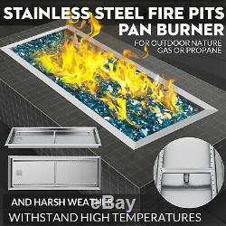 Natural Gas Fire Pit Burner Drop In Pan 36x12 Table Top Outdoor BBQ Rectangular