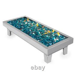 Natural Gas Fire Pit Burner Pan BBQ Fireglass Table Top Stainless Steel Drop-In