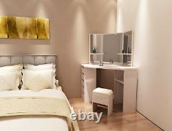 New Dressing Table Stool Vanity Set Makeup Desk withMirror & Drawers Bedroom White
