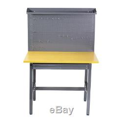 New Grey Work Bench Tool Storage Steel Tool Workshop Table With Drawer +Peg Board