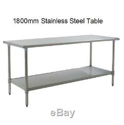 New Stainless Steel Commercial Kitchen Table + Under Shelf 180cm 5.9ft