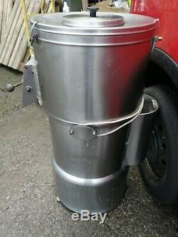 No453 STAINLESS STEEL 1/2 SACK POTATO RUMBLER/ PEELER HAD TURN TABLE RE GRITTED
