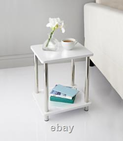 Norsk 2 Shelf Unit White-High Gloss Coffee Side Table With Stainless Steel Legs