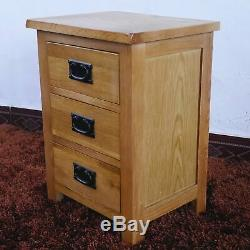 Oak Bed Side Cabinet Solid 3 Drawer Wiltshire Letter Telephone Lamp Table Drawer