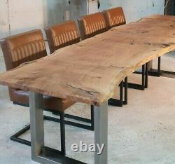 Oak Slab Epoxy Resin Table Industrial Stainless Steel Base