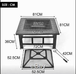 Outdoor Fire Pit BBQ Firepit Brazier Garden Square Table Stove Patio Heater 81cm
