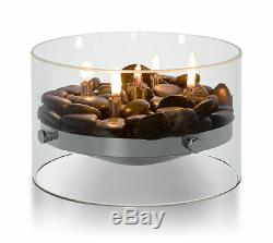 PHILIPPI Design Fire Classy Table Fireplace NewithBoxed Glass Chimney Steel & Deco