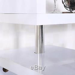 PROFESSIONAL White High Gloss Wine Table Bar Kitchen Breakfast Wine Rack Shelves