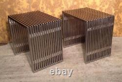 Pair Of Stainless Steel Slatted Tables, Tubular Table, Brushed Steel Bench