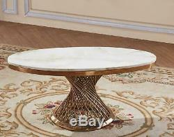 Pescara Marble Coffee Table with Stainless Steel Base