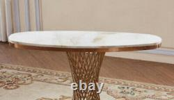 Pescara Marble Console Table with Stainless Steel Base