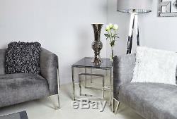 Plaza Contemporary Stainless Steel Smoked Glass Side End Hall Display Table