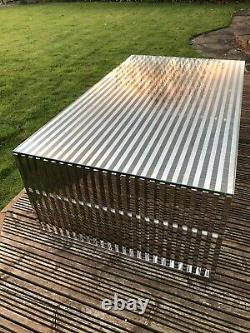 Polished Stainless Steel Coffee Table. Tempered Glass Top. Andrew Martin Style