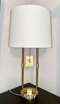 RARE Ralph Lauren Katie Time Worn Saddle Leather Brass Table Lamp-NWT