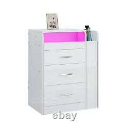 RGB LED High Gloss Dressing Table Set Table 3 Drawers Desk Organiser Stool Set