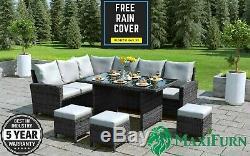 Rattan Effect 9 8 7 Seater Outdoor Corner Sofa Dining Table Set Patio Furniture