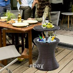 Rattan Ice Bucket Activity Bar Cooler Table Beer Brown Outdoor Patio Party