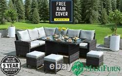 Rattan Outdoor Garden Furniture Set Corner Sofa & 3 Stools Patio Grey NO TABLE