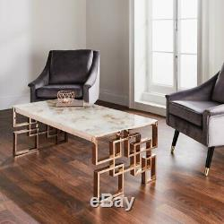 Rose Gold Copper Marble Glass Coffee Table Stainless Steel Legs