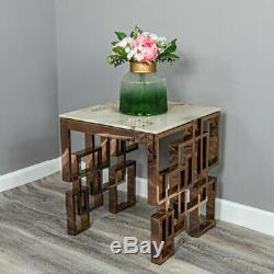 Rose Gold Copper Marble Glass Square Side End Lamp Table Stainless Steel Legs