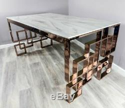 Rose Gold Copper White Marble Top Glass Dining Table Stainless Steel