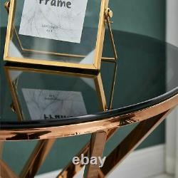 Round Coffee Table Glass End Side Tables Gold Stainless Steel Legs Living Room