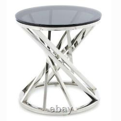 Round Coffee Table Side End Table Stainless Steel Legs Living Room Furniture NEW