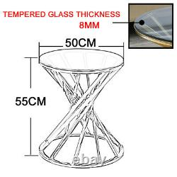 Round Glass Coffee Table End Side Tables Stainless Steel Legs Sofa Living Room