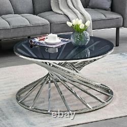 Round Glass Coffee Table Side Table Silvery Stainless Steel Legs For Living Room