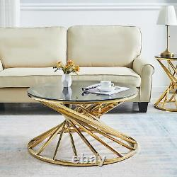 Round Glass Coffee Table Sofa Side Table Gold Stainless Steel Legs Living Room