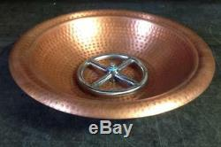 Round REAL Copper Table Top Fire Pit Bowl and Stand includes metal mesh cover